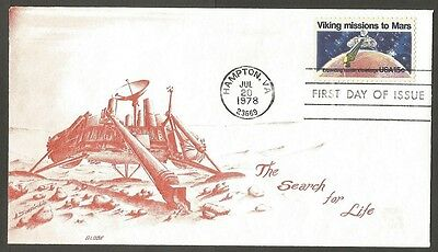 Us Fdc 1978 Viking Missions To Mars 15C #1759 Globe First Day Of Issue Cover