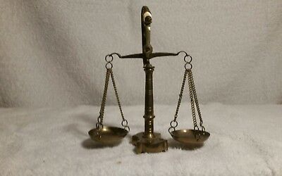 Antique Vintage Solid Brass Scale Mini Balance Small Plates With 1 Weight