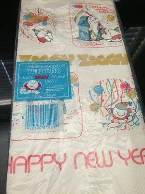 "Vintage ZIGGY Comic New Years Party Paper Table-Cloth TableCover 54"" x 96"""