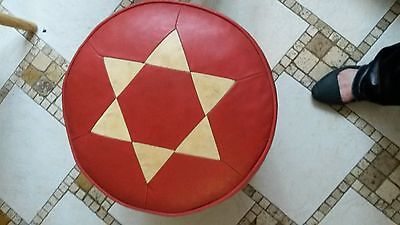 Vintage 1970s Red & White Leather Harlequin pattern stool