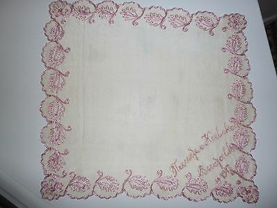 Antique  10 1/2 Square Handkerchief with Embroidery