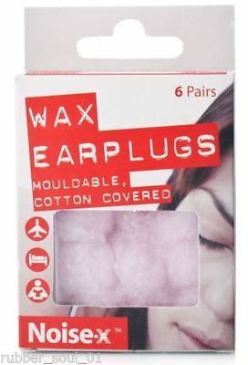 Noise X Wax Ear Plugs 6 Pairs   Mouldable, Cotton Covered   **FREE POST**