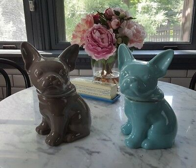 "FRENCH BULLDOG CERAMIC STONEWARE COOKIE JAR 10.5"" Threshold Brand 2 Colors NEW"