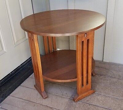 2012 STICKLEY Audi OAK LAMP TABLE Model 89-664, ARTS & CRAFTS MISSION Finish #32