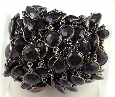 1 Ft Amethyst Hydro 12mm Faceted Round Black Oxidize Continuous Connector Chain
