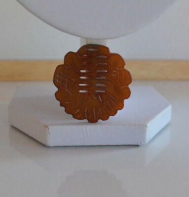 Chinese Hand Carved Cut Out Gemstone Round Pendant Brownish Red jade ?