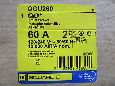 Square D QOU260 Circuit Breaker 2 Pole 60 Amp 120/240V NEW!!! in Factory Box