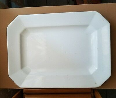 """Wood & Sons Staffordshire England 16"""" White Ironstone Platter  antique 19th c"""