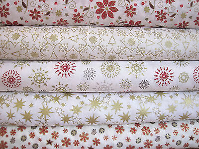 Fat Quarter Fabric Bundle Festive Christmas Mandala Stars Ivory Gold Cream F75