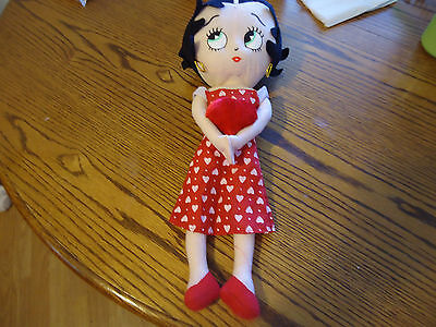 Betty Boop Plush Doll Red Heart dress 16 inch Valentine NWOT
