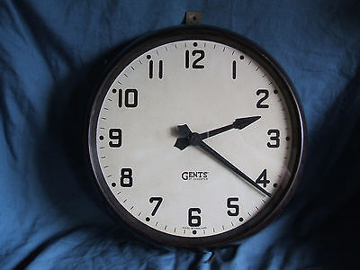 """Gents of Leicester Industrial Bakelite 12"""" Dial Wall Clock With Slave Movement"""