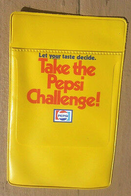 "Take The Pepsi Challenge! Vintage 5-1/2"" Yellow Vinyl Pocket Protector"