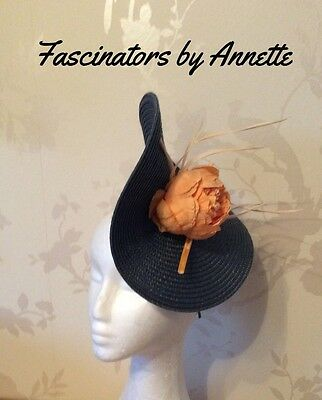 Apricot and navy blue fascinator, weddings and ladiesdays