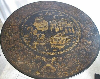 *REDUCED* Rare Antique Japanned Chinoiserie Lacquered Table French circa 1810