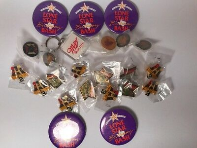 23 Pins & Buttons Bud Bowl 3, Lone Star Miller High Life, Military, Budweiser
