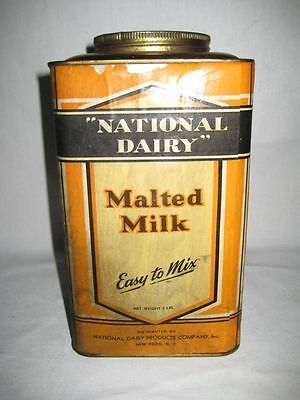 Vintage Metal National Dairy Extra Rich Malted Milk Container w/ Lid