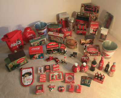 Coca Cola Collection Of (46), Novelities, Tins, Magnets, Bottles, Cards, Etc