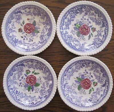 "4 Copeland SPODE Mayflower Lavender Purple Transferware 6 "" Saucers ENGLAND"