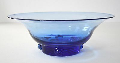 vintage BLENKO #445 sky blue bowl with applied prunts