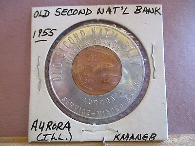 Encased 1955 Lincoln Cent Old Second National Bank, Aurora, (ILL.,IL)
