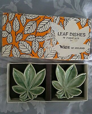 Pair of Wade leaf dishes