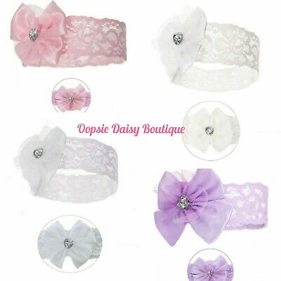 Beautiful Lace & Diamante Baby Girls Headbands White & Pink