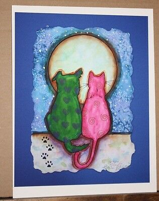 Moon, Stars, and Friends by Patricia Eldridge Dog Cat Whimsical Fun Pet Colorful