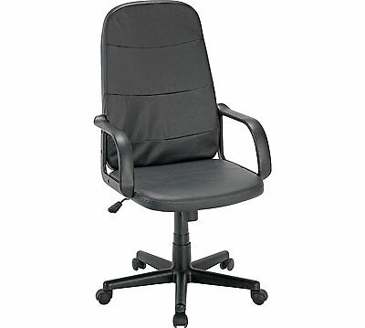 Leather faced swivel executive computer Office Chair in Black