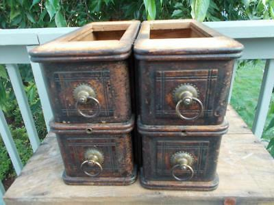 Antique White Wood Sewing Drawers from Treadle Sewing Machine-set of 4