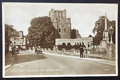 KELSO ABBEY Cloisters POSTCARD War Memorial VALENTINE'S Cars SCOTLAND 297