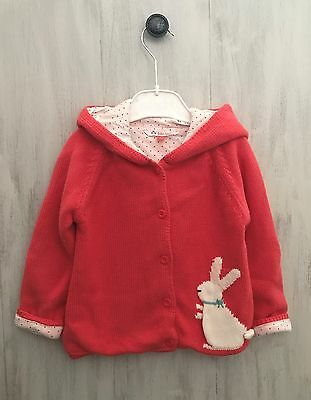 Baby Girl John Lewis Hooded Cardigan Size 18-24 Months Knit Coral Bunny Autumn