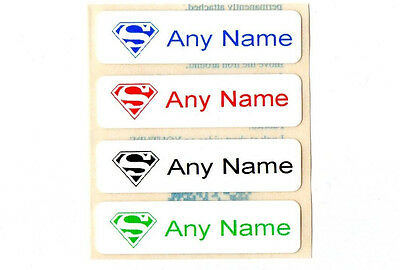 50 Printed Superman Iron on Name Tags tapes Labels School clothes personalised