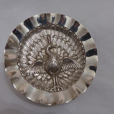 Unusual Solid Silver PEACOCK Sweetmeat Dish with wavy edge INDO PERSIAN c1900