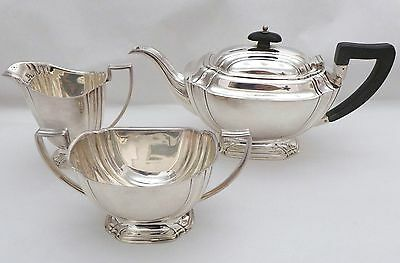 ART DECO Sterling Silver 3 Piece Tea Set Fully Hallmarked for 1942 - 933 gms