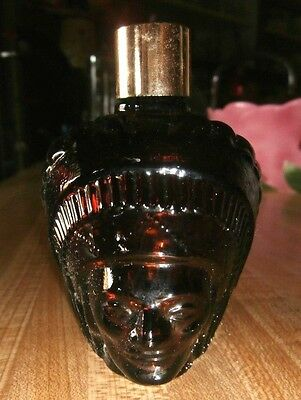 Avon Vintage Indian Head Wild Country After Shave Dark Amber Glass Decanter