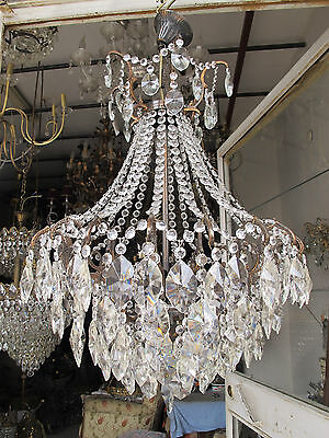 Antique Vnt French HUGE Spider Style Crystal Chandelier Lamp 1940s 20in diametr*