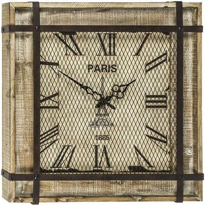 Rustic French Style Square Natural Wood Wall Clock NEW Industrial Metal Mesh