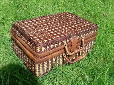 Wicker  Picnic Basket - complete with plastic cups, plates and cutlery for 4