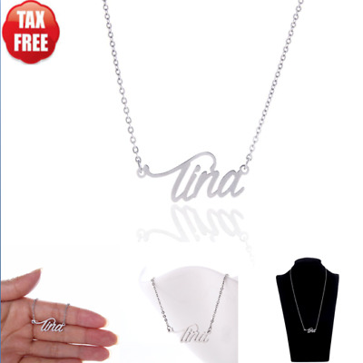 Stainless Steel Name Necklace Personalized Birthday Gift for Her Tina Silver