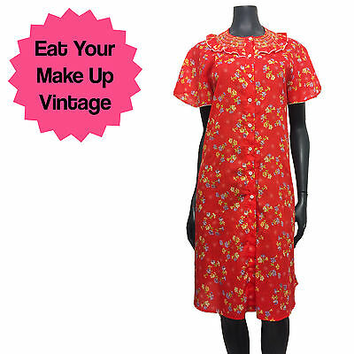 Vintage 60s Red Yellow Ditzy Floral Print Frilly Long Nightie Nightdress 12 14