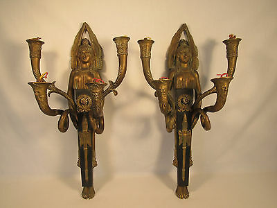 Antique Bronze Art Deco Egyptian Revival Goddess Wall Sconces Made In France