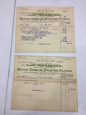 1907 Elliot Frog & Switch Co Bills E St Louis IL to St François County RR  Mo.