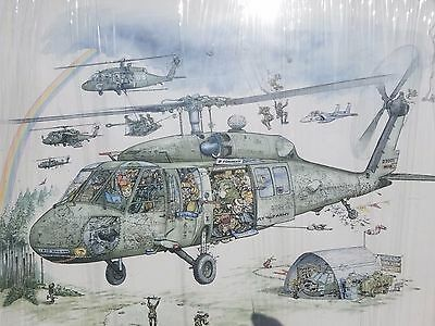 "Vintage George Finley Military Art Caricature Army Helicopter Print 18"" x 18.5"""
