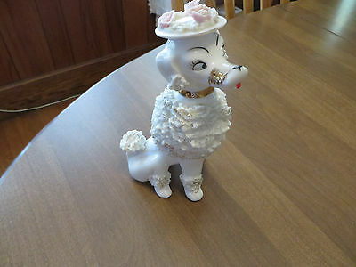 "Vintage Large White Spaghetti Poodle Gold Collar Blue Eyes Figurine 50""s"