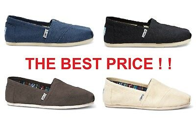 Authentic TOMS Women's CLASSIC Solid Canvas Slip-On Flats ~ Various Sizes ! !