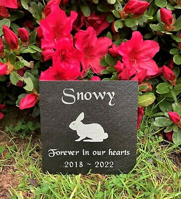Personalised Engraved Pet Memorial Slate Headstone Grave Marker Plaque Rabbit