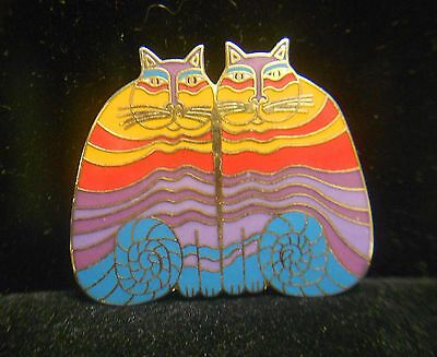 Laurel Burch Rainbow Cat Pin/Brooch Pendant **Free Shipping**