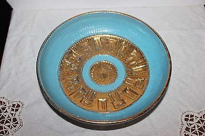 Gorgeous Vintage Blue/Gold Pottery  Bowl- Made in Italy
