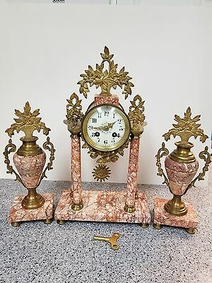 19th Century Marble and Gilt French Clock with Garniture
