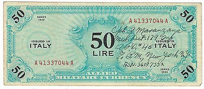 1943 Italy Allied Occupation 50 Lire Short Snorter
